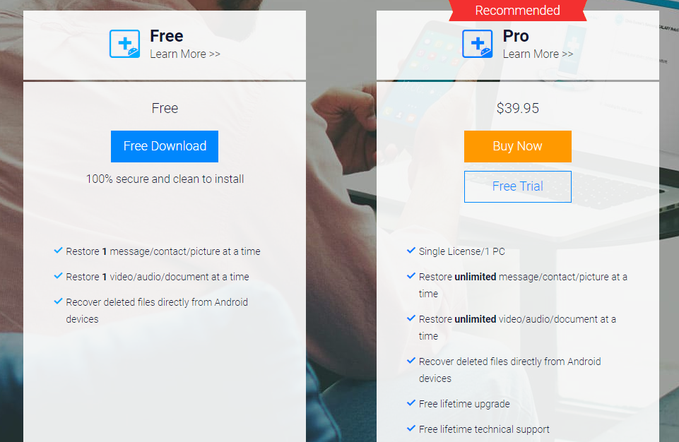 EaseUs data recovery for android prices